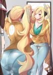 2girls absurdres ass blonde_hair blue_eyes breasts brown_hair coat cosplay denim grin hair_ornament heart heart_hair_ornament highres huge_filesize jeans large_breasts long_hair mei_(pokemon) mirror multiple_girls namonakisyura pants pantylines pokemon pokemon_(game) pokemon_swsh shirona_(pokemon) side_ponytail smile sonia_(pokemon) sonia_(pokemon)_(cosplay) thigh_gap translation_request very_long_hair visor_cap wide_hips