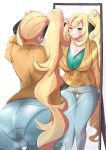 1girl 2girls absurdres ass blonde_hair breasts coat cosplay denim grin hair_ornament heart heart_hair_ornament highres huge_filesize jeans large_breasts long_hair mirror multiple_girls namonakisyura pants pantylines pokemon pokemon_(game) pokemon_swsh shirona_(pokemon) side_ponytail smile solo sonia_(pokemon) sonia_(pokemon)_(cosplay) thigh_gap very_long_hair visor_cap wide_hips
