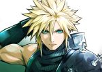 1boy aqua_eyes blonde_hair buster_sword cloud_strife final_fantasy final_fantasy_vii light male_focus serious shoulder_armor solo spiky_hair tsukikage_oyama turtleneck upper_body