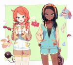 2girls :d :o alternate_costume aqua_nails black_hair blue_hair blush collarbone commentary_request cowboy_shot dark_skin drednaw earring_removed eyebrows_visible_through_hair eyewear_removed gen_4_pokemon gen_8_pokemon green_background green_eyes hair_ornament hair_scrunchie hairband hand_on_hip heart holding holding_magazine hood hood_down jewelry long_hair long_sleeves looking_at_viewer low_twintails magazine multicolored_hair multiple_girls open_mouth orange_hair orange_hairband pajamas pendant poke_ball poke_ball_(generic) pokemon pokemon_(creature) pokemon_(game) pokemon_swsh rotom rotom_phone rurina_(pokemon) scrunchie shinoba shorts smile sonia_(pokemon) sunglasses twintails two-tone_hair yamper