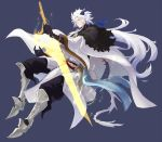 1boy black_gloves cape diarmait_briongloid elbow_gloves full_body gloves glowing glowing_weapon greaves hair_over_one_eye holding holding_sword holding_weapon horns parata pixiv_fantasia pixiv_fantasia_age_of_starlight pointy_ears simple_background solo sword weapon white_cape white_hair wide_sleeves