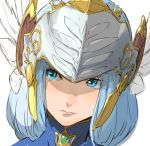 1girl blue_eyes blue_hair closed_mouth enami_katsumi feathers helmet lenneth_valkyrie long_hair simple_background solo valkyrie valkyrie_profile white_background winged_helmet