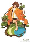 1girl :d blue_eyes bright_pupils brown_hair commentary_request fang full_body hair_between_eyes hair_ornament high_heels highres japanese_clothes kimono lansane leg_up official_art omuro_musume open_mouth original short_hair simple_background skin_fang smile solo standing standing_on_one_leg tree tree_branch water white_background white_footwear white_pupils