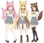 3girls :d animal_ear_fluff animal_ears bangs black_legwear blonde_hair blush boots bow brown_bow brown_eyes brown_footwear brown_hair closed_mouth commentary_request eyebrows_visible_through_hair grey_sailor_collar grey_skirt hair_between_eyes hand_on_hip hands_together kneehighs loafers long_hair mary_janes mauve multiple_girls open_mouth original own_hands_together pink_hair pleated_skirt red_eyes sailor_collar school_uniform serafuku shirt shoes short_sleeves simple_background skirt smile socks standing tail tail_raised thigh-highs twintails very_long_hair white_background white_legwear white_shirt wolf_ears wolf_girl wolf_tail