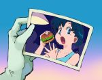 1girl bangs bishoujo_senshi_sailor_moon blue_eyes blue_hair collarbone dreaminerryday eating food gloves hamburger highres holding mizuno_ami open_mouth photo_(object) sailor_moon_redraw_challenge short_hair sleeveless
