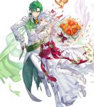1boy 1girl alternate_costume bird bouquet bow cape crossed_arms dress feathered_wings feathers fire_emblem fire_emblem:_radiant_dawn fire_emblem_heroes flower full_body gloves green_hair grey_hair highres leaf long_hair micaiah_(fire_emblem) official_art one_eye_closed open_mouth sothe_(fire_emblem) teffish torn_clothes transparent_background veil wings yellow_eyes yune_(fire_emblem)