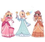 3girls blonde_hair blue_eyes breasts brown_hair charamells chiko_(mario) commentary crown dress english_commentary floating full_body gloves holding holding_umbrella looking_at_viewer mario_(series) multiple_girls pixel_art princess princess_daisy princess_peach rosalina simple_background small_breasts standing super_mario_galaxy super_smash_bros. umbrella white_background