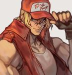 1boy blonde_hair blue_eyes fatal_fury fatal_fury_cap fingerless_gloves gloves hand_on_headwear highres jacket sleeveless solo terry_bogard uncle_rabbit_ii upper_body