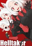3girls animal_ears black_gloves black_neckwear cerberus_(helltaker) chemical-x claw_pose closed_eyes demon_girl demon_tail dog_ears dog_girl eating english_text fang gloves hand_on_own_face helltaker looking_at_viewer multiple_girls necktie open_mouth red_background red_eyes red_shirt shirt tail triplets waistcoat white_hair