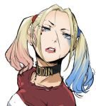 1girl blonde_hair blue_eyes breasts enami_katsumi harley_quinn lipstick looking_at_viewer lowres makeup medium_hair multicolored_hair simple_background solo suicide_squad twintails white_background