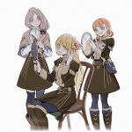 3girls alzi_xiaomi annette_fantine_dominic blonde_hair blue_eyes blue_legwear bow chair closed_mouth fire_emblem fire_emblem:_three_houses garreg_mach_monastery_uniform green_eyes hair_bow hair_brush hand_mirror highres holding ingrid_brandl_galatea long_hair long_sleeves low_ponytail mercedes_von_martritz mirror multiple_girls open_mouth orange_hair simple_background sitting thigh-highs twintails uniform white_background