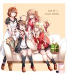 4girls alternate_costume antenna_hair black_legwear black_ribbon black_shirt blonde_hair blouse blush box braid breasts brown_background brown_eyes brown_footwear brown_hair closed_eyes couch dated dress gift gift_box gradient_hair hair_flaps hair_ornament hair_over_shoulder hair_ribbon hairband happy_birthday heterochromia highres jewelry kantai_collection light_brown_hair long_dress long_hair mashiro_aa medium_breasts messy_hair multicolored_hair multiple_girls murasame_(kantai_collection) necklace necktie open_mouth orange_hairband red_cardigan red_eyes red_hairband red_neckwear red_shirt remodel_(kantai_collection) ribbon scarf shigure_(kantai_collection) shiratsuyu_(kantai_collection) shirt sitting skirt sleeveless sleeveless_dress small_breasts smile socks straight_hair thigh-highs twintails two-tone_background white_background white_blouse white_scarf yuudachi_(kantai_collection)