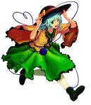 1girl ;d aqua_eyes aqua_hair black_headwear boots bow collarbone collared_shirt eyebrows_visible_through_hair floral_print frilled_shirt_collar frills full_body green_footwear green_skirt h-a-b_(psycho) hands_on_headwear hat hat_bow heart heart_of_string komeiji_koishi one_eye_closed open_mouth orange_bow orange_shirt rose_print shirt simple_background skirt smile solo teeth third_eye touhou white_background wide_sleeves