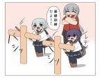>:) 3girls :3 akatsuki_(kantai_collection) bokken bokota_(bokobokota) chibi commentary_request crossed_arms gangut_(kantai_collection) grey_eyes grey_hair hibiki_(kantai_collection) highres kantai_collection multiple_girls pleated_skirt purple_hair school_uniform serafuku silver_hair skirt smile standing standing_on_one_leg sword translation_request violet_eyes weapon wooden_sword