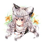 1girl absurdres animal_ear_fluff animal_ears arknights bangs bead_necklace beads blush braid commentary eyebrows_visible_through_hair flower grey_eyes hair_between_eyes head_chain highres jewelry leopard_ears long_hair looking_at_viewer necklace orange_flower pramanix_(arknights) romanyaa silver_hair solo turtleneck twin_braids