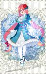 1girl :d blue_eyes blue_footwear copyright_name flower frills full_body gloves hair_flower hair_ornament heterochromia highres isaiah_(pixiv_fantasia_age_of_starlight) long_hair long_sleeves looking_at_viewer magic open_mouth pantyhose pink_hair pixiv_fantasia pixiv_fantasia_age_of_starlight red-framed_eyewear red_eyes smile solo standing vivid_bbdan wand white_gloves white_legwear