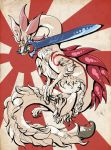 amaterasu capcom claws company_connection dragon egocider fur fusion glaive highres holding holding_weapon huge_weapon long_neck long_tail making-of_available mizutsune monster_hunter monster_hunter_x mouth_hold no_humans ookami_(game) rising_sun solo sunburst sword tail weapon