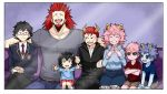 2girls 5boys black_hair black_sclera blue_hair blue_shirt blue_skin bnha-bitch boku_no_hero_academia facial_hair glasses goatee horns if_they_mated looking_at_viewer multiple_boys multiple_girls muscle older open_mouth pink_hair pink_skin red_eyes red_shirt redhead school_uniform sharp_teeth shirt siblings smile spiky_hair sweater teeth turtleneck turtleneck_sweater twins yellow_eyes