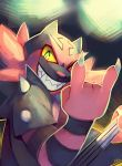 \n/ claws commentary creature english_commentary gen_7_pokemon grin highres incineroar looking_at_viewer multiple_sources no_humans pokemon pokemon_(creature) salanchu signature smile solo spikes starter_pokemon upper_body