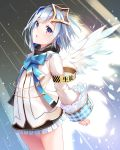 1girl absurdres amane_kanata angel_wings armband backlighting blue_hair blue_ribbon feathered_wings feathers grey_eyes hair_intakes highlights highres hololive jacket looking_at_viewer miniskirt mogmog multicolored_hair neck_ribbon open_mouth ribbon short_hair silver_hair skirt sleeves_past_wrists standing virtual_youtuber white_jacket wings