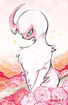 absol alternate_color blue_eyes closed_mouth commentary commission creature english_commentary flower full_body gen_3_pokemon highres no_humans pokemon pokemon_(creature) shiny_pokemon signature simple_background sitting smile solo sparkle white_background yoshida_nina