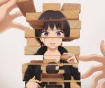 1girl black_hair black_hoodie commentary_request facing_away grey_background holding jenga long_sleeves looking_at_viewer original out_of_frame parted_lips pov pov_hands short_hair surreal upper_body violet_eyes yajirushi_(chanoma)