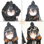 1girl black_hair caws_(girls_frontline) commentary_request disguise girls_frontline goggles goggles_on_head highres knot korean_commentary makeup makeup_brush nyto_nimogen_(girls_frontline) obsi paradeus solo yellow_eyes
