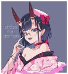 1girl angellyuna bangs bare_shoulders bracelet breasts choker collarbone dress_for_demons earrings eyeliner fate/grand_order fate_(series) floral_print glasses grey_background hair_ornament hairclip hat horn_ring japanese_clothes jewelry kimono long_sleeves looking_at_viewer makeup off_shoulder open_mouth pink_headwear pink_kimono ring shuten_douji_(fate/grand_order) simple_background slit_pupils small_breasts smile wide_sleeves