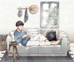 1boy absurdres barefoot basket black_hair blue_sweater book_stack couch cup food fruit furuya01boy grey_eyes hat hat_removed headwear_removed highres indoors lantern male_focus mug original pants pillow reading rug scenery sitting solo stool sweater tree white_pants window
