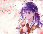 1girl absurdres bangs cherry_blossoms closed_mouth collared_shirt dyamong042 fate/stay_night fate_(series) hair_between_eyes hair_ribbon highres homurahara_academy_uniform long_hair long_sleeves looking_at_viewer matou_sakura neck_ribbon purple_hair red_ribbon ribbon shiny shiny_hair shirt solo spring_(season) upper_body violet_eyes white_background white_shirt wing_collar
