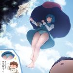 /\/\/\ 1boy 1girl :< bangs barefoot blue_eyes blue_hair blue_skirt blue_sky blue_vest blush closed_mouth clouds cloudy_sky commentary_request day faceless faceless_male flying heterochromia holding holding_umbrella juliet_sleeves karakasa_obake kite long_sleeves no_socks nose_blush outdoors panties pantyshot parted_lips partial_commentary puffy_sleeves purple_umbrella red_eyes salute shirosato shirt short_hair skirt sky sparkle striped striped_panties tatara_kogasa tongue touhou triangle_mouth umbrella underwear upskirt vest white_shirt