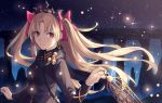 1girl armlet bangs birdcage black_dress black_scarf blonde_hair blush bow breasts cage closed_mouth dress earrings ereshkigal_(fate/grand_order) fate/grand_order fate_(series) gold_trim hair_bow highres infinity jewelry long_hair long_sleeves looking_at_viewer night night_sky parted_bangs red_bow red_eyes scarf skull sky small_breasts smile star_(sky) starry_sky tiara two_side_up very_long_hair yangsan_(2991076090)