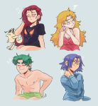 absurdres blonde_hair blue_eyes blue_hair brown_eyes gen_1_pokemon green_eyes green_hair highres jewelry kiana_mai kojirou_(pokemon) kosaburou_(pokemon) meowth musashi_(pokemon) nightgown pajamas pokemon pokemon_(anime) purple_hair redhead shirt shirtless sleepy team_rocket underpants violet_eyes yamato_(pokemon)
