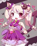 1girl :3 ageha_(cat_busters) animal_ears bangs blush bug butterfly cat cat_busters cat_ears cat_girl claws commentary_request cowboy_shot demon_horns demon_tail fang furry heart horns insect long_hair looking_at_viewer open_mouth rao_(artist) simple_background slit_pupils solo tail twintails violet_eyes whiskers white_fur