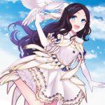 1girl bangs bird blue_eyes blue_sky blush braid breasts brown_hair dove dress elbow_gloves fate/grand_order fate_(series) foot_up forehead french_braid gloves hair_ornament hair_ribbon highres ice_skates ichiko_(fraisecandy_15) leonardo_da_vinci_(fate/grand_order) leonardo_da_vinci_(rider)_(fate) long_hair looking_at_viewer parted_bangs puff_and_slash_sleeves puffy_short_sleeves puffy_sleeves ribbon short_sleeves skates sky small_breasts star star_hair_ornament white_dress white_footwear white_gloves white_ribbon