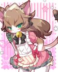 1girl :< animal_ears bell black_bow blush bow broom brown_fur brown_hair cat cat_busters cat_ears cat_girl cat_tail charlotte_(cat_busters) commentary_request contrapposto cowboy_shot furry green_eyes hair_bow hand_on_hip holding holding_broom leaning_forward long_hair looking_at_viewer maid_headdress pink_background rao_(artist) simple_background slit_pupils solo standing star striped striped_background tail tail_bow two-tone_fur whiskers white_fur