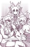 3girls animal_ear_fluff animal_ears arm_wrestling bikini choker clenched_hand clenched_teeth closed_mouth collar fang fate/extra fate/grand_order fate_(series) filming fox_ears greyscale hair_ribbon highres holding holding_phone long_hair monochrome multiple_girls multiple_persona niandni open_mouth phone ribbon shaded_face sketch swimsuit table tamamo_(fate)_(all) tamamo_cat_(fate) tamamo_no_mae_(fate) tamamo_no_mae_(swimsuit_lancer)_(fate) teeth veins