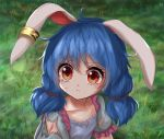 1girl animal_ears blue_dress blue_hair collarbone cuts dress ear_clip grass hair_between_eyes hair_ribbon injury kayon_(touzoku) looking_to_the_side low_twintails outdoors parted_lips puffy_short_sleeves puffy_sleeves rabbit_ears red_eyes ribbon sailor_moon_redraw_challenge seiran_(touhou) short_hair short_sleeves solo tears torn_clothes touhou twintails upper_body