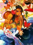 1996 1girl arm_support bangle black_hair bracelet bug butterfly circlet dated flower hair_flower hair_ornament highres insect jewelry kobayashi_tomomi long_hair looking_at_viewer lying multicolored_hair newtype on_stomach original planet signature space streaked_hair