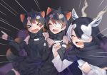 >_< 3girls :d ^_^ animal_ears antelope_ears antelope_horns apron australian_devil_(kemono_friends) bangs bare_shoulders batten_japari_dan black_hair blackbuck_(kemono_friends) blurry bow bowtie brown_hair cape clenched_hands closed_eyes closed_mouth couch detached_sleeves emphasis_lines extra_ears eyebrows_visible_through_hair eyepatch fangs furrowed_eyebrows gaijin_4koma grey_hair hair_over_one_eye hand_on_another's_shoulder hands_up highres horns isobee kemono_friends long_hair medical_eyepatch medium_hair meme multicolored_hair multiple_girls open_mouth own_hands_together pointing shirt sitting skirt smile swept_bangs tail tasmanian_devil_(kemono_friends) tasmanian_devil_ears tasmanian_devil_tail thigh-highs two-tone_hair upper_teeth v-shaped_eyebrows waist_apron white_hair xd zettai_ryouiki |d