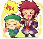 1boy 1girl bangs beard belt blonde_hair blush boots brown_hair chest chibi closed_eyes collar epaulettes eyebrows_visible_through_hair facial_hair facing_viewer fate/grand_order fate_(series) floral_background flower fringe_trim goatee grass green_headwear hand_on_hip hat holding jacket long_sleeves military military_uniform motunabe707070 napoleon_bonaparte_(fate/grand_order) open_clothes open_jacket open_mouth open_shirt pants parted_bangs paul_bunyan_(fate/grand_order) pointing pointing_at_self raised_eyebrows scar shoes short_hair sideburns simple_background smile speech_bubble tight toy translation_request uniform white_pants