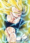 1boy absurdres aura clenched_hands dragon_ball dragon_ball_z electricity facial_mark fighting_stance forehead_mark from_above gloves highres kamishima_kanon majin_vegeta male_focus muscle open_mouth solo super_saiyan super_saiyan_2 vegeta veins white_gloves