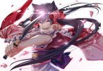 1girl animal_ears black_hair bow fangs fox_ears glint hair_bow hair_ribbon holding holding_knife japanese_clothes kimono knife long_hair looking_at_viewer motobi_(mtb_umk) obi open_mouth otome_youkai_zakuro petals pink_bow ribbon sash simple_background slashing solo standing twintails violet_eyes white_background wide_sleeves zakuro_(otome_youkai_zakuro)