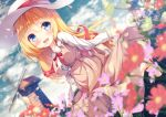 1girl :d akai_haato bangs blonde_hair blue_eyes blurry blurry_background blurry_foreground blush breasts chinomaron commentary_request day depth_of_field dress dutch_angle eyebrows_visible_through_hair flower hair_between_eyes hair_ornament hairclip hat hololive long_hair long_sleeves looking_at_viewer medium_breasts neck_ribbon open_mouth outdoors ribbon shirt skirt_hold smile solo very_long_hair virtual_youtuber white_headwear white_shirt