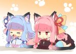 2girls :3 =_= animal_ear_fluff animal_ears bangs bare_shoulders bent_over blue_hair blue_legwear blue_ribbon blunt_bangs brown_dress cat_ears cat_girl cat_tail chibi closed_eyes detached_sleeves dress full_body hair_ribbon jitome kneeling kotonoha_akane kotonoha_aoi long_hair looking_away multiple_girls orange_background paw_print petenshi_(dr._vermilion) pink_hair pink_legwear red_eyes ribbon siblings sidelocks sisters tail thigh-highs tress_ribbon voiceroid yawning