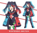 1girl :d absurdres black_hair black_skirt blue_hair eyebrows_visible_through_hair fang hair_ornament highres hinghoi long_hair long_sleeves looking_at_viewer multicolored_hair multiple_views nintendo_switch nintendo_switch_(personification) open_mouth original paint_stains personification red_eyes redhead sailor_collar school_uniform serafuku sketch skirt sleeves_past_wrists smile thigh-highs twintails v-shaped_eyebrows