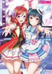 2girls :d armpits bangs blue_footwear blue_hair blue_neckwear blush bracelet crossover eyebrows_visible_through_hair frilled_legwear frilled_skirt frills grin hair_between_eyes highres holding_hands idol inou_shin jewelry layered_skirt long_hair looking_at_viewer love_live! love_live!_sunshine!! miniskirt multiple_girls necktie nishikino_maki open_mouth outstretched_arm outstretched_hand pleated_skirt pumps reaching_out red_eyes red_legwear red_neckwear redhead shiny shiny_hair short_sleeves skirt smile socks stage standing standing_on_one_leg swept_bangs tsushima_yoshiko violet_eyes white_legwear white_skirt