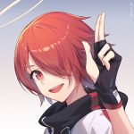 1girl :d arknights artist_name bangs black_gloves blue_background chinese_commentary commentary_request exusiai_(arknights) fingerless_gloves gloves gradient gradient_background grey_background hair_over_one_eye halo hand_up high_collar jacket looking_at_viewer nian open_mouth portrait red_eyes redhead short_hair smile solo white_jacket