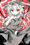 1girl ascot bow character_name commentary_request cowboy_shot crystal eyebrows_visible_through_hair finger_to_chin flandre_scarlet hat hat_bow long_hair looking_at_viewer mob_cap monochrome nagisa_shizuku one_side_up puffy_short_sleeves puffy_sleeves red_background red_eyes red_nails short_sleeves simple_background skirt slit_pupils smile solo spot_color the_embodiment_of_scarlet_devil touhou vest wings