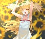 1girl armpits arms_up bakemonogatari bangs bare_shoulders bow dress fangs flower hat highres holding holding_hat long_hair monogatari_(series) open_mouth oshino_shinobu outdoors red_bow solo ssangbong-llama standing straw_hat sunflower vampire white_dress yellow_eyes